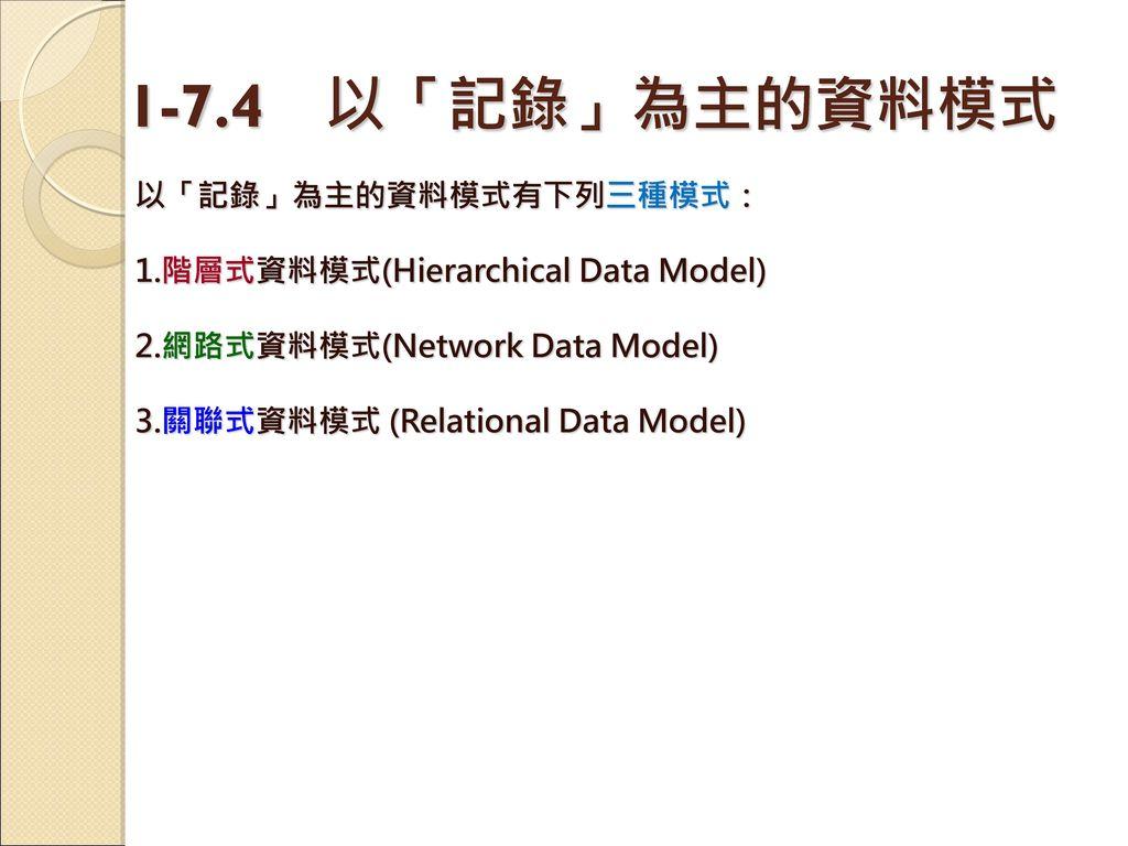 1-7.4 以「記錄」為主的資料模式 以「記錄」為主的資料模式有下列三種模式:
