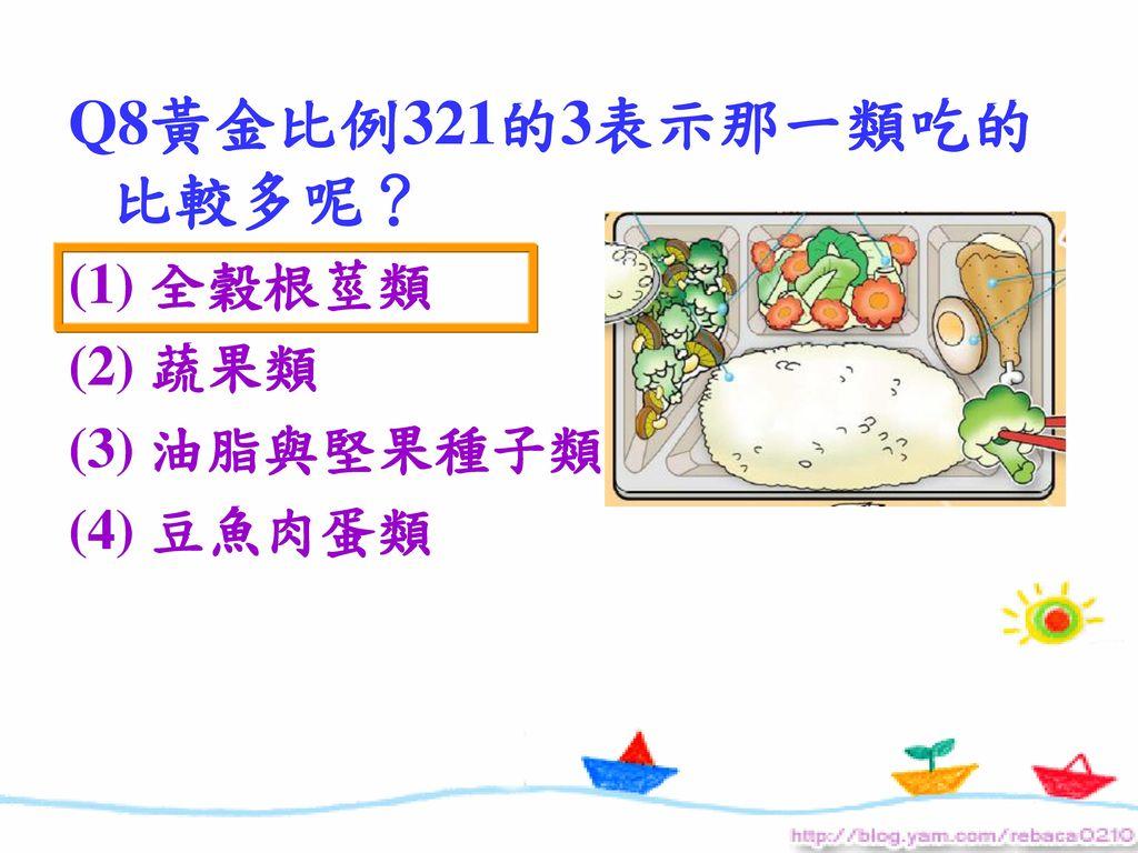 Q8黃金比例321的3表示那一類吃的比較多呢? (1) 全穀根莖類 (2) 蔬果類 (3) 油脂與堅果種子類 (4) 豆魚肉蛋類