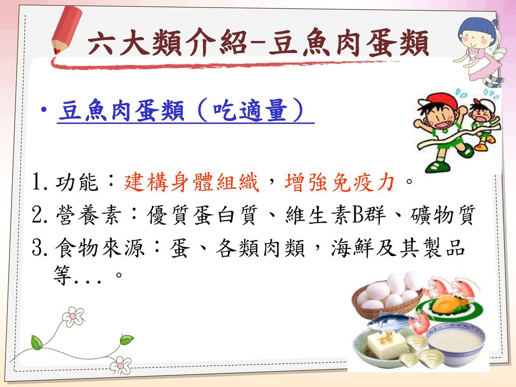 六大類介紹-豆魚肉蛋類 豆魚肉蛋類(吃適量) 1.功能:建構身體組織,增強免疫力。 2.營養素:優質蛋白質、維生素B群、礦物質
