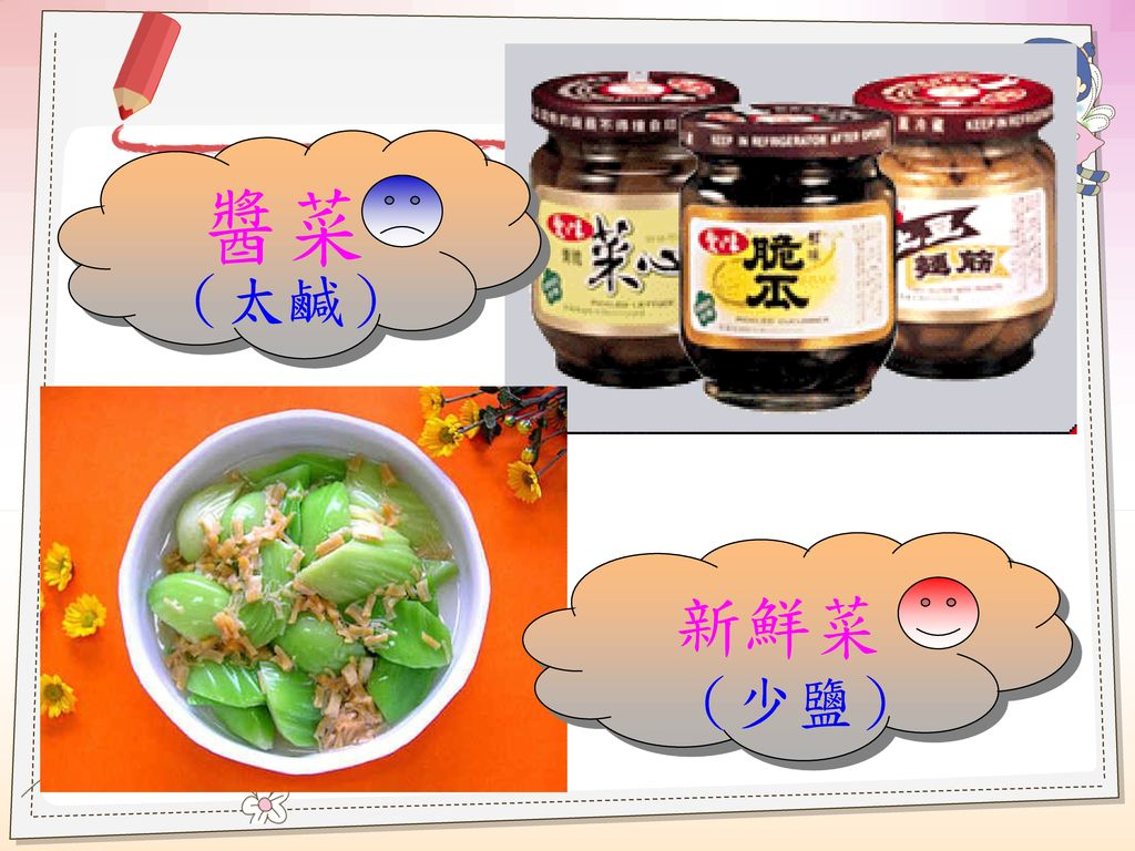 醬菜 (太鹹) 新鮮菜 (少鹽)
