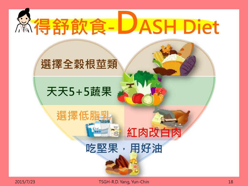 得舒飲食-DASH Diet 選擇全榖根莖類 天天5+5蔬果 選擇低脂乳 紅肉改白肉 吃堅果,用好油 2015/7/23