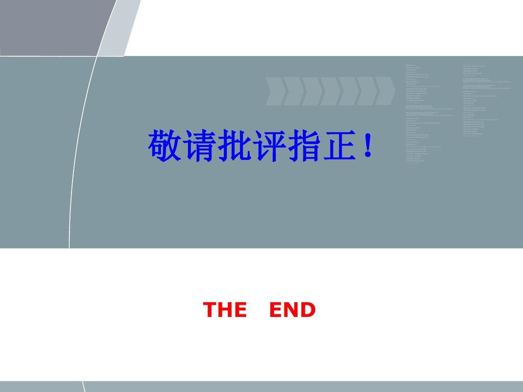 敬请批评指正! THE END