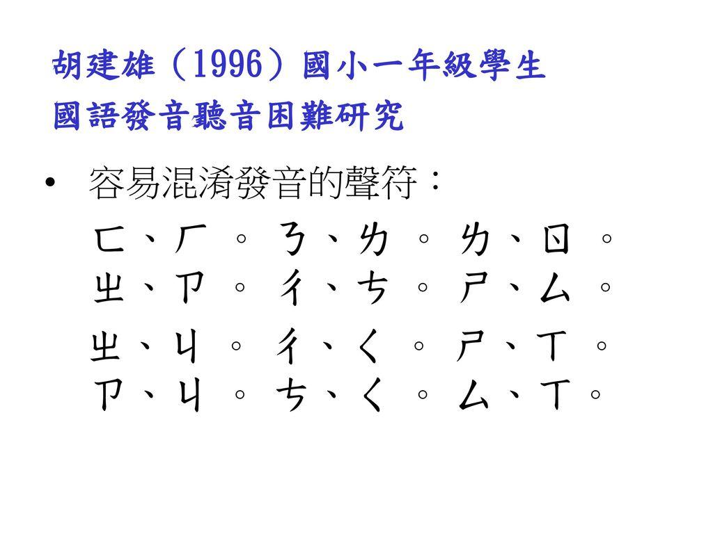 胡建雄(1996)國小一年級學生 國語發音聽音困難研究