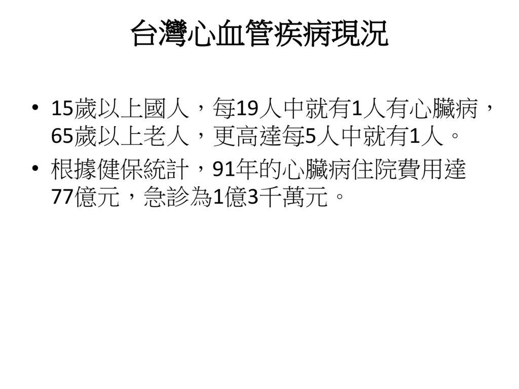 台灣心血管疾病現況 15歲以上國人,每19人中就有1人有心臟病,65歲以上老人,更高達每5人中就有1人。