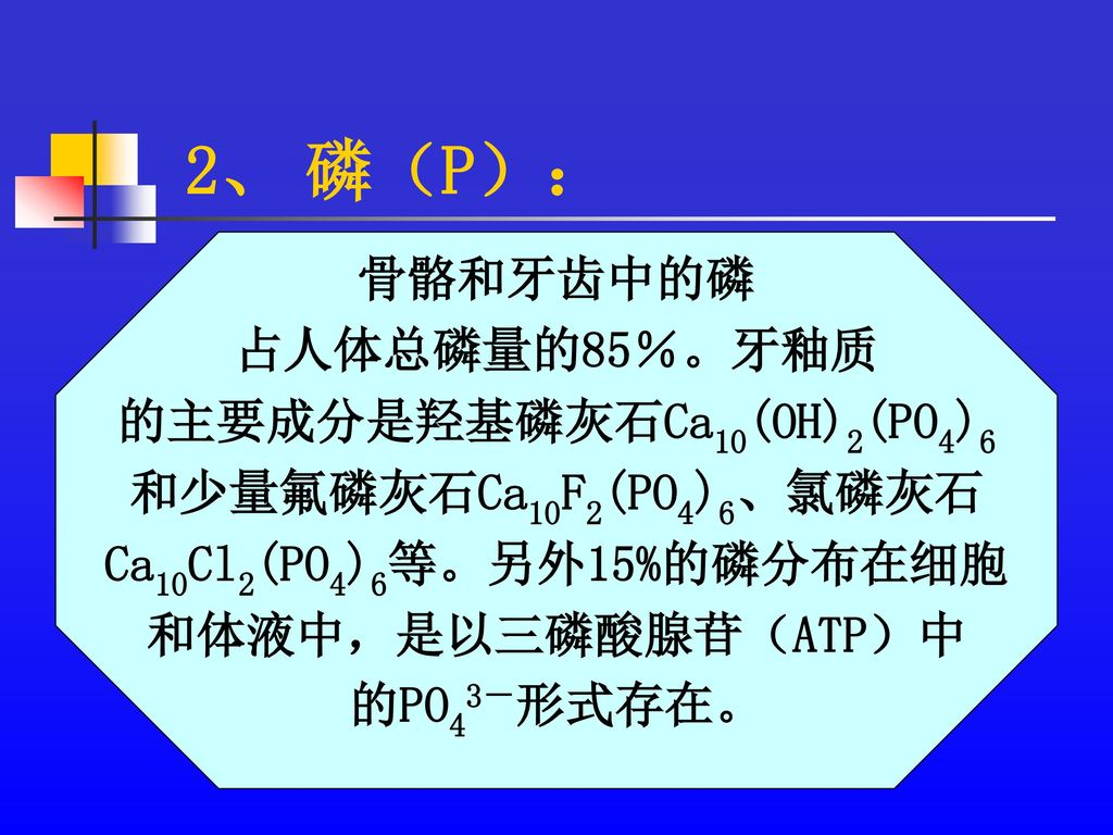 的主要成分是羟基磷灰石Ca10(OH)2(PO4)6 Ca10Cl2(PO4)6等。另外15%的磷分布在细胞