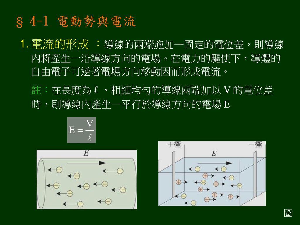 Ch4 電流 § 4-1 電動勢與電流 § 4-2 電阻與歐姆定律 § 4-3 電功率與電流的熱效應 § 4-4 克希荷夫定律