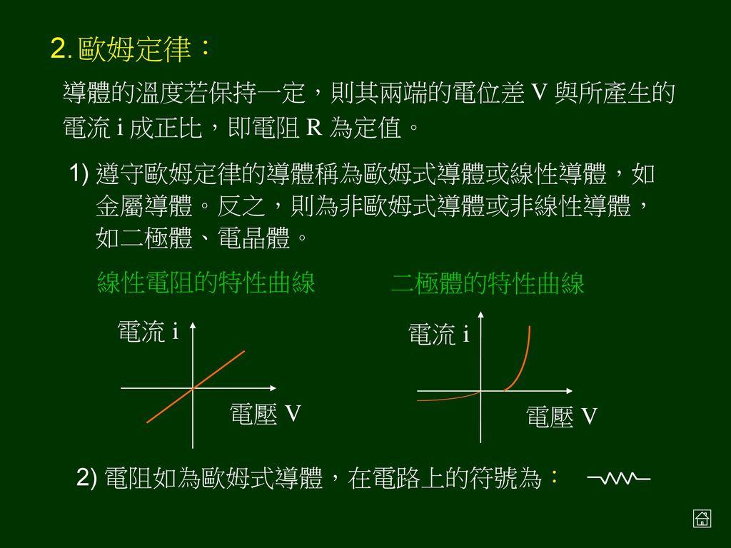 § 4-2 電阻與歐姆定律 電阻: 定義:物體兩端之電位差 V 與流經其上電流 i 的比值 單位:歐姆 (Ω) = 伏特∕安培(V ∕A)