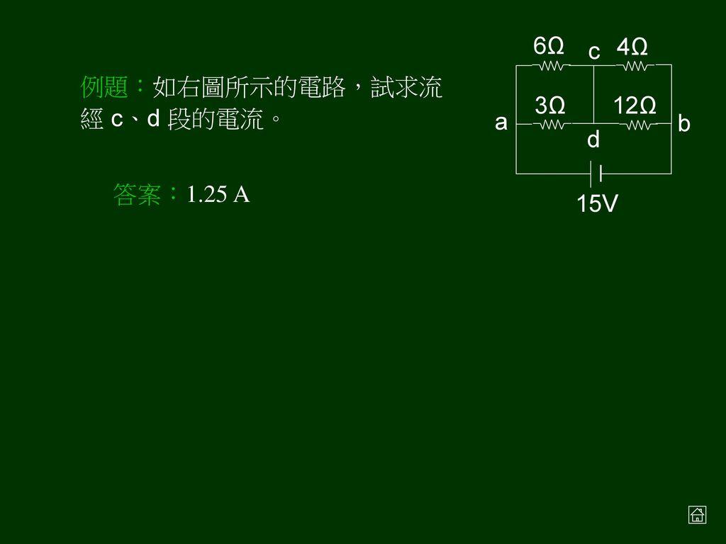例題:在右圖之正立方體中每邊上之電阻均相同。若電流 i 由 A 點流入,由 G 點流出,則兩點電位相同的有