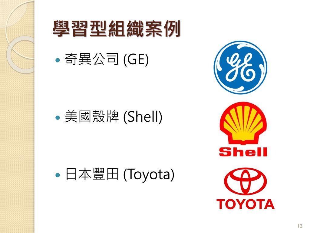 學習型組織案例 奇異公司 (GE) 美國殼牌 (Shell) 日本豐田 (Toyota)