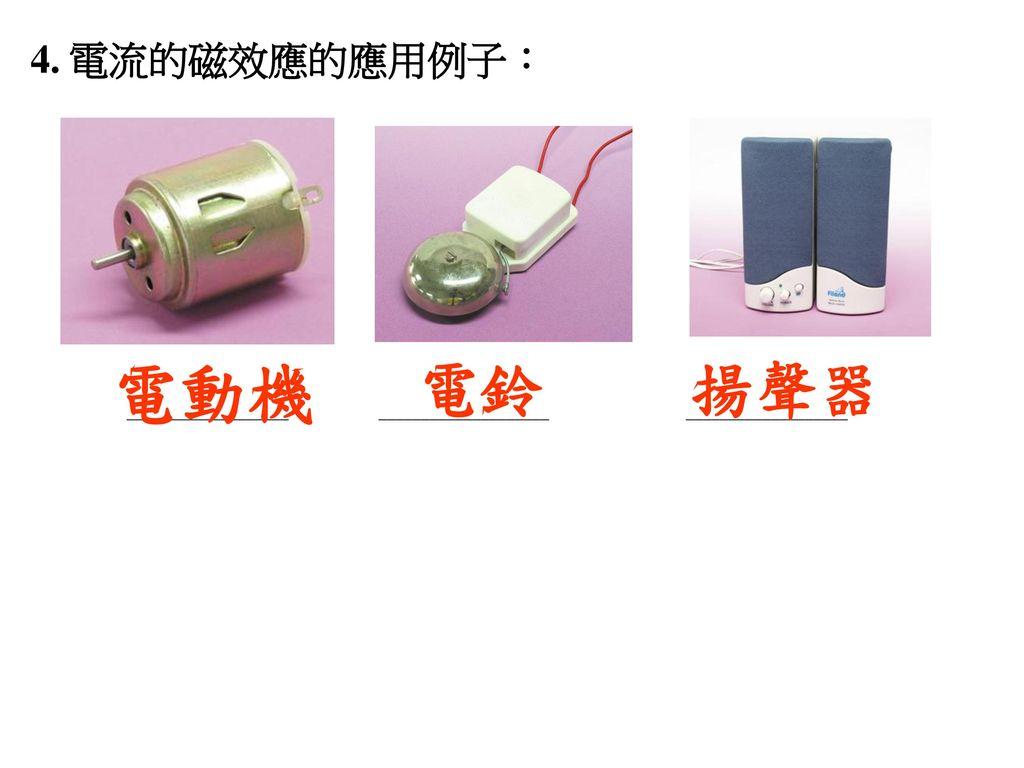 電動機 電鈴 揚聲器 4. 電流的磁效應的應用例子: