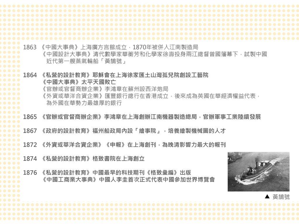 1863 《中國大事典》上海廣方言館成立,1870年被併入江南製造局