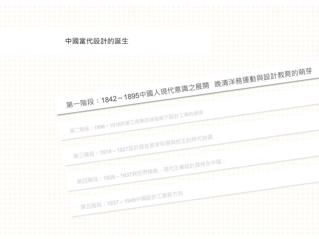 第一階段︰1842~1895中國人現代意識之展開 晚清洋務運動與設計教育的萌芽