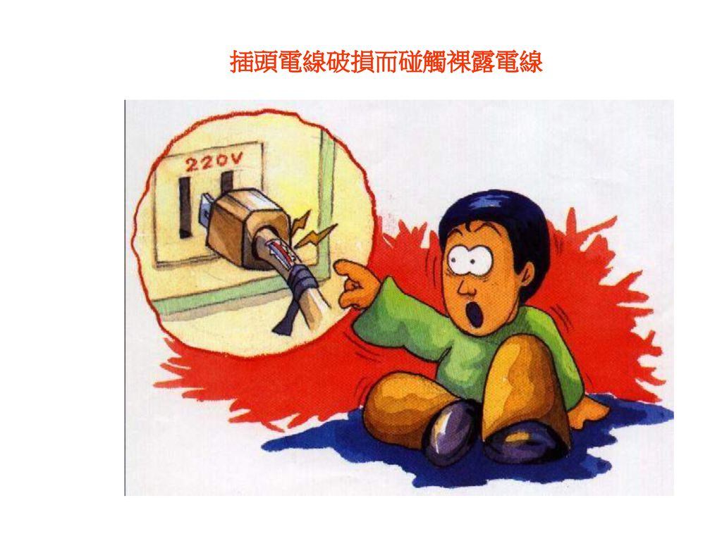 插插頭電線破損而碰觸裸露電線