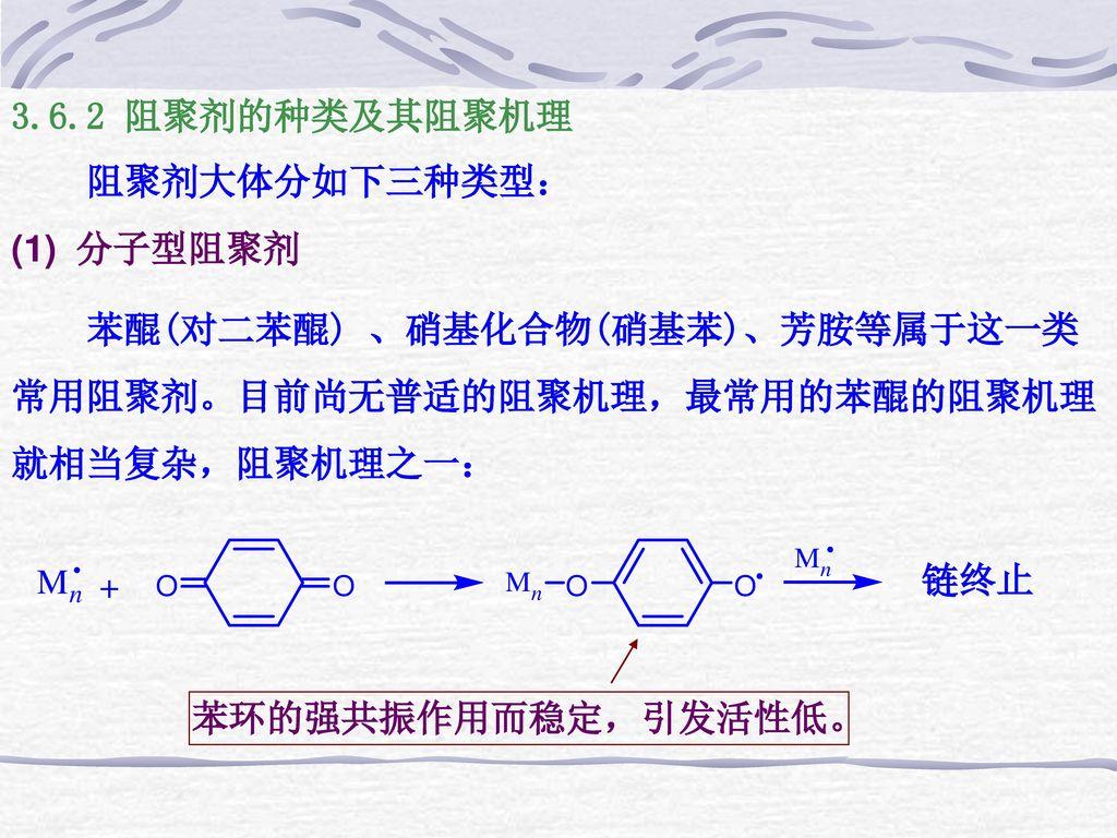 3.6.2 阻聚剂的种类及其阻聚机理 阻聚剂大体分如下三种类型: (1) 分子型阻聚剂. 苯醌(对二苯醌) 、硝基化合物(硝基苯)、芳胺等属于这一类常用阻聚剂。目前尚无普适的阻聚机理,最常用的苯醌的阻聚机理就相当复杂,阻聚机理之一: