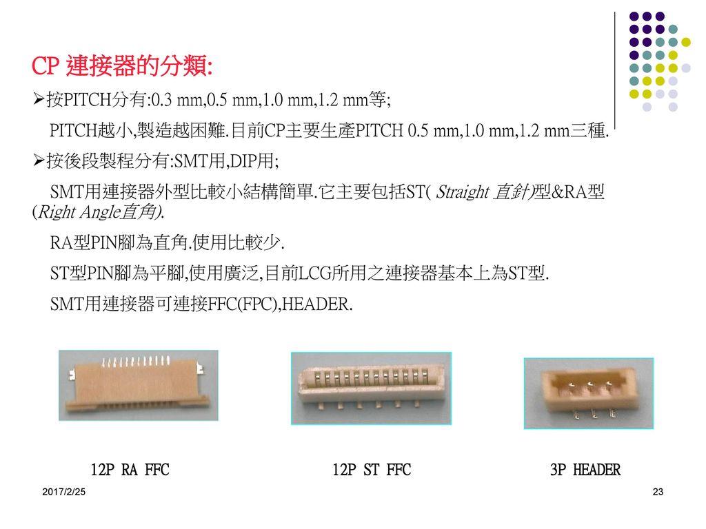 CP 連接器的分類: 按PITCH分有:0.3 mm,0.5 mm,1.0 mm,1.2 mm等;