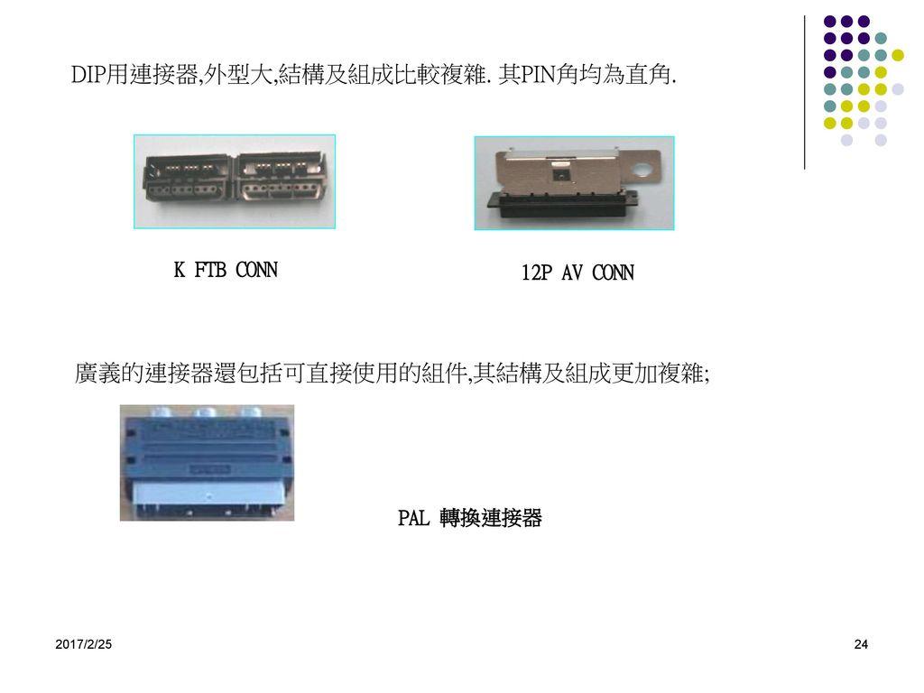DIP用連接器,外型大,結構及組成比較複雜. 其PIN角均為直角.