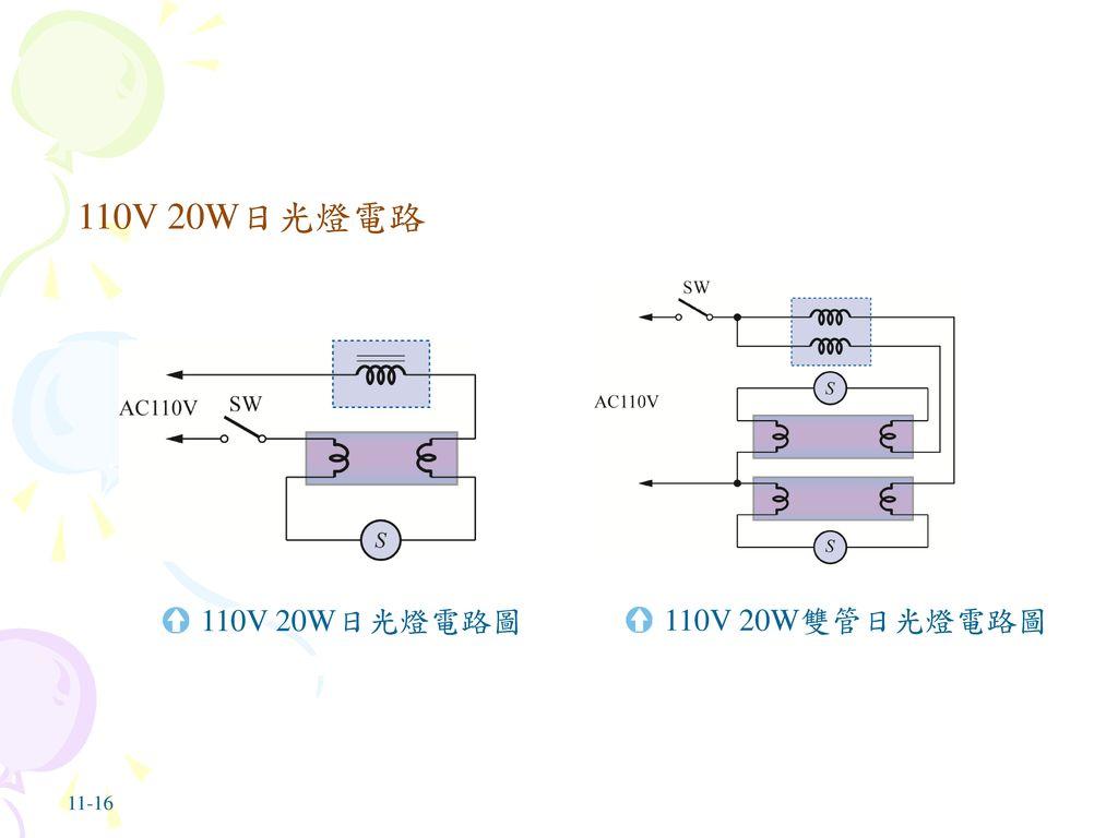 110V 20W日光燈電路 110V 20W日光燈電路圖 110V 20W雙管日光燈電路圖 11-16