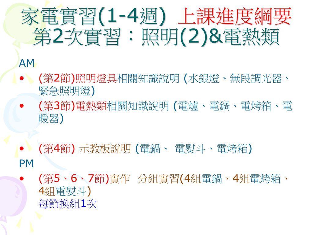 家電實習(1-4週) 上課進度綱要 第2次實習:照明(2)&電熱類