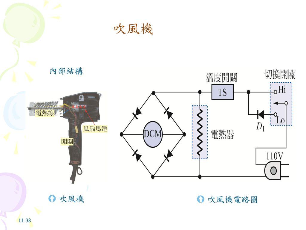 吹風機 內部結構 吹風機 吹風機電路圖 11-38