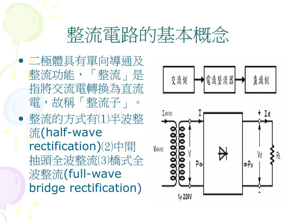 整流電路的基本概念 二極體具有單向導通及整流功能,「整流」是指將交流電轉換為直流電,故稱「整流子」。