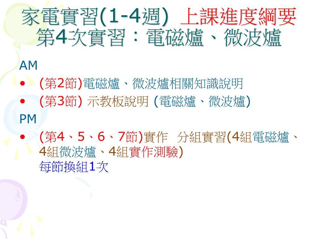 家電實習(1-4週) 上課進度綱要 第4次實習:電磁爐、微波爐