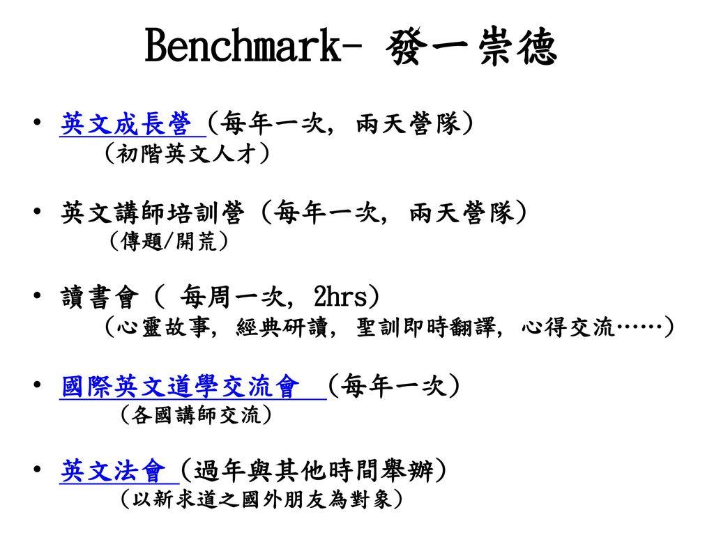 Benchmark- 發一崇德 英文成長營 (每年一次, 兩天營隊) 英文講師培訓營 (每年一次, 兩天營隊)