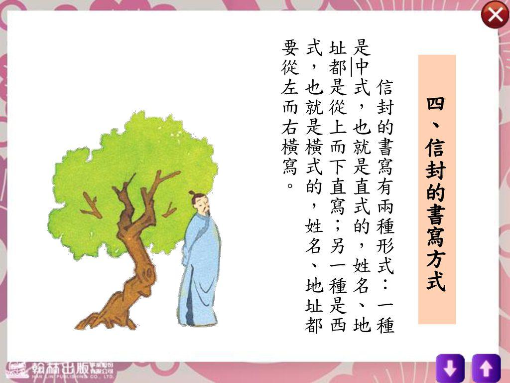 信封的書寫有兩種形式:一種是中式,也就是直式的,姓名、地址都是從上而下直寫;另一種是西式,也就是橫式的,姓名、地址都要從左而右橫寫。