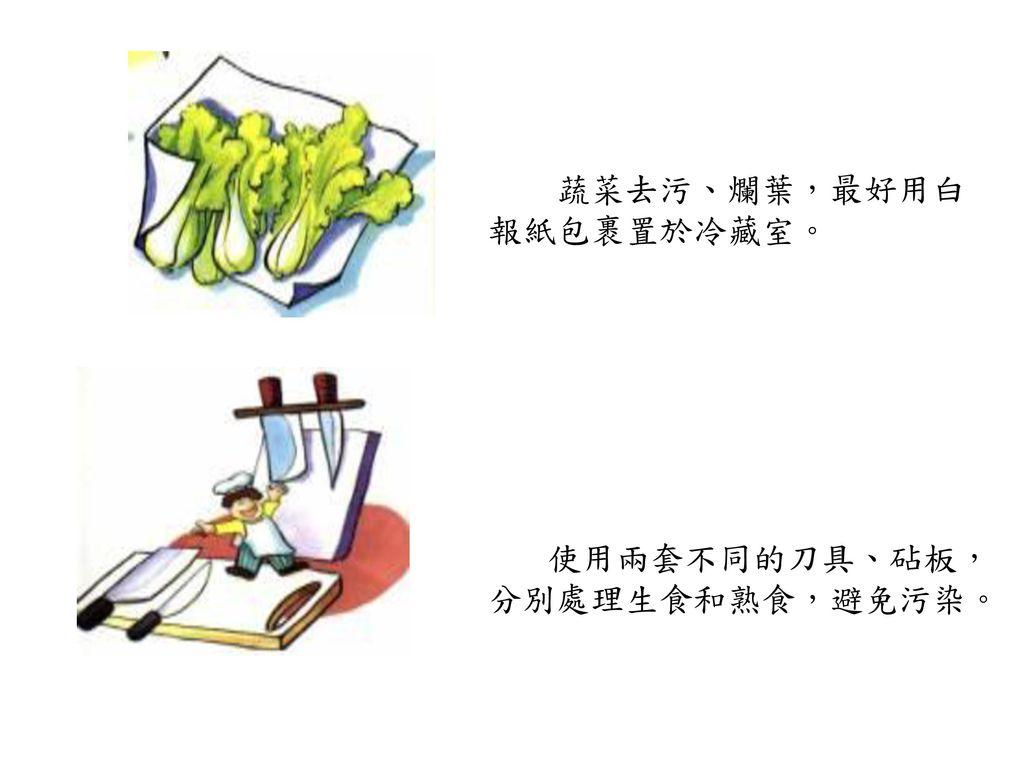 蔬菜去污、爛葉,最好用白報紙包裹置於冷藏室。