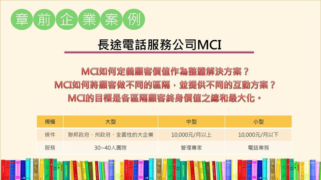 章 前 企 業 案 例 長途電話服務公司MCI MCI如何定義顧客價值作為整體解決方案?