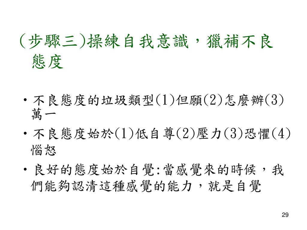 (步驟三)操練自我意識,獵補不良態度 不良態度的垃圾類型(1)但願(2)怎麼辦(3)萬一