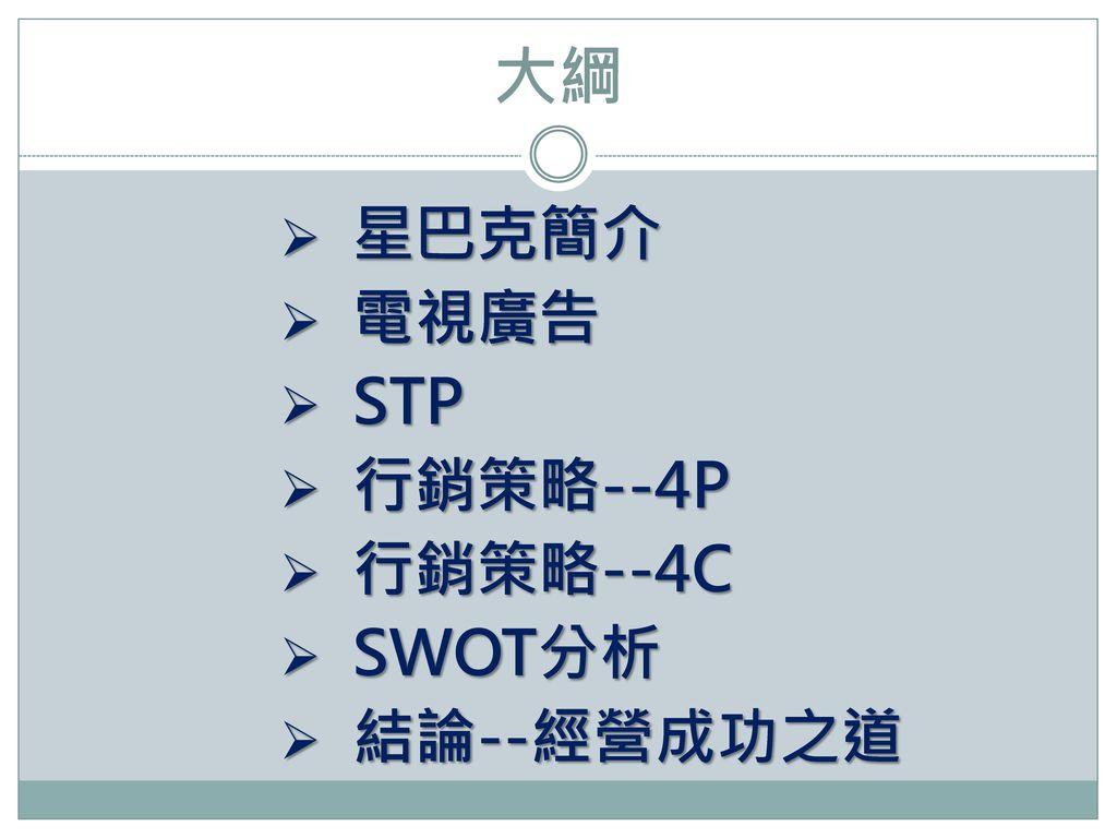 大綱 星巴克簡介 電視廣告 STP 行銷策略--4P 行銷策略--4C SWOT分析 結論--經營成功之道
