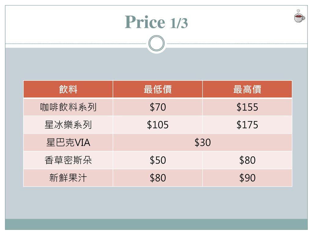 Price 1/3 飲料 最低價 最高價 咖啡飲料系列 $70 $155 星冰樂系列 $105 $175 星巴克VIA $30 香草密斯朵