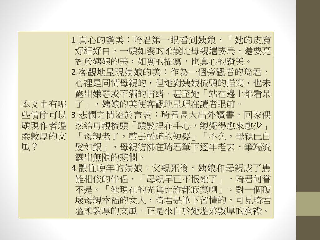 本文中有哪些情節可以顯現作者溫柔敦厚的文風?