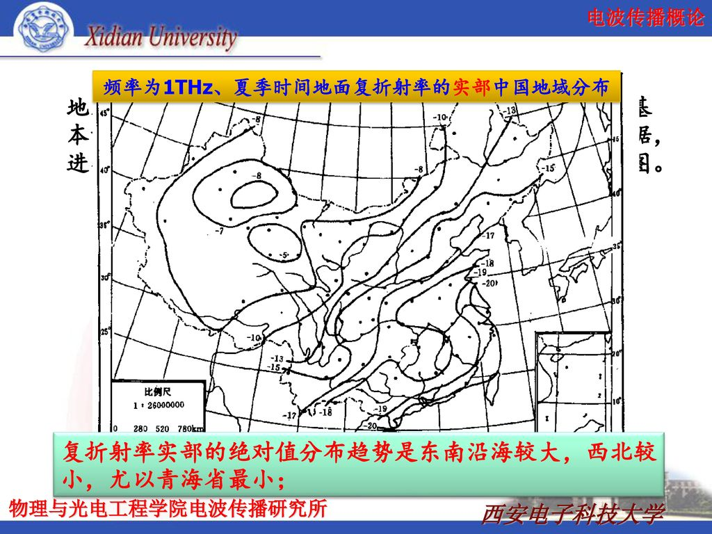 频率为1THz、夏季时间地面复折射率的实部中国地域分布