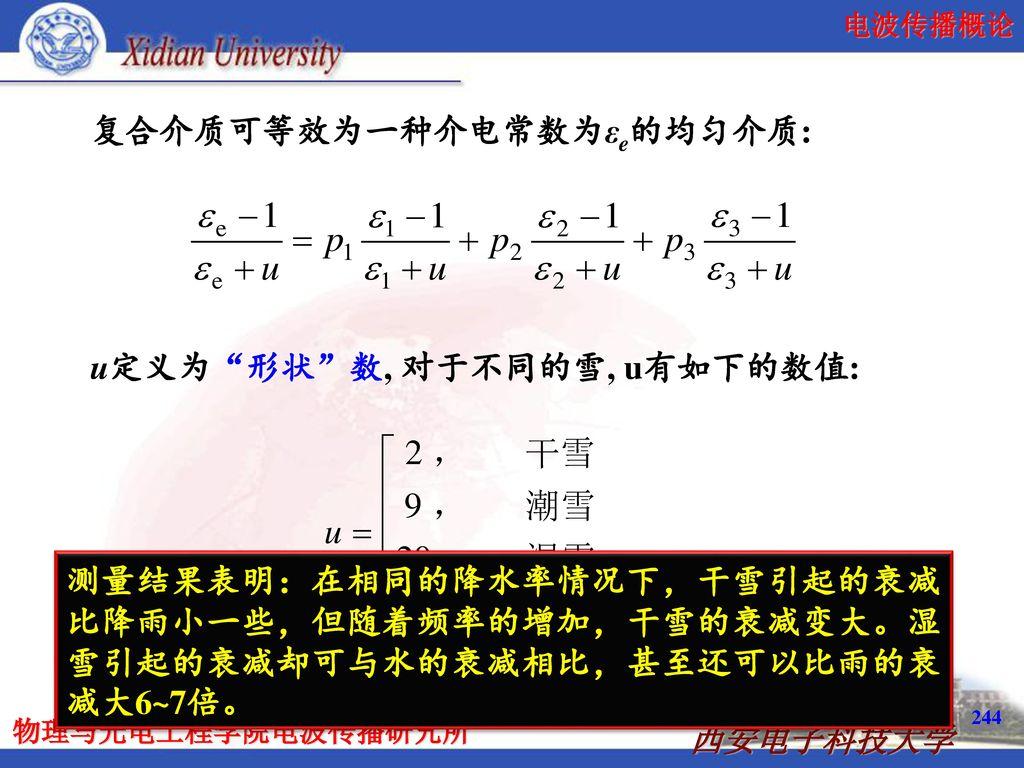 复合介质可等效为一种介电常数为εe的均匀介质:
