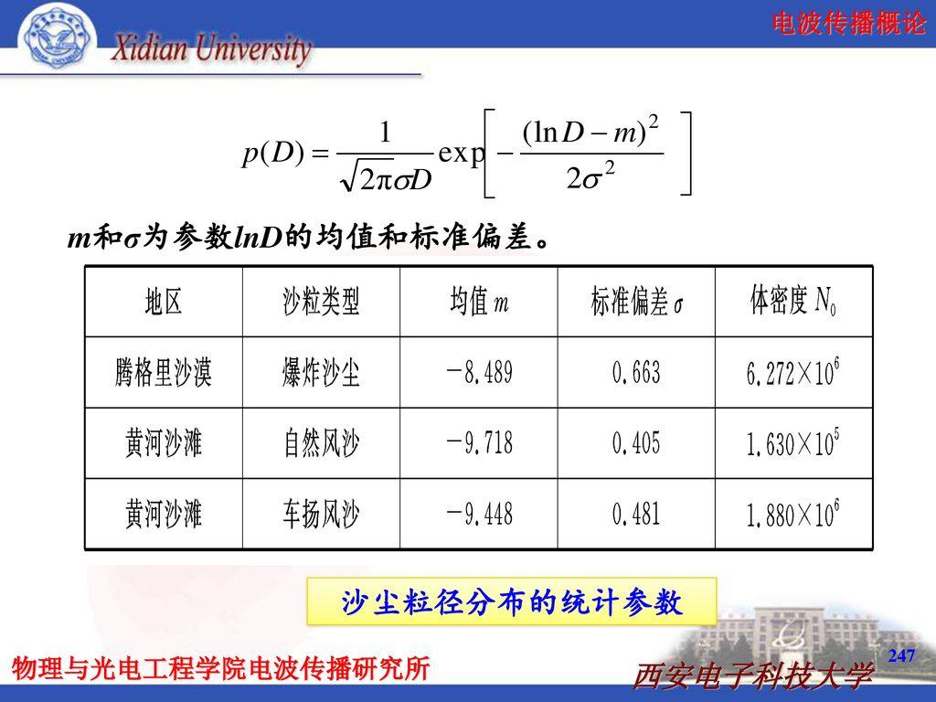 m和σ为参数lnD的均值和标准偏差。 沙尘粒径分布的统计参数