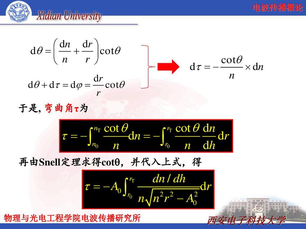 再由Snell定理求得cotq,并代入上式,得