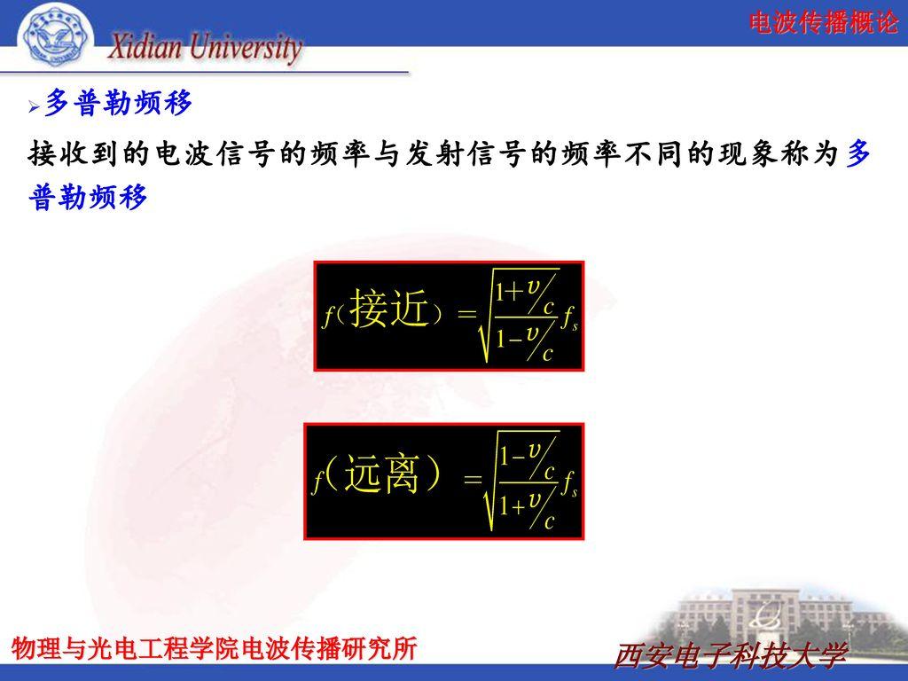 多普勒频移 接收到的电波信号的频率与发射信号的频率不同的现象称为多普勒频移