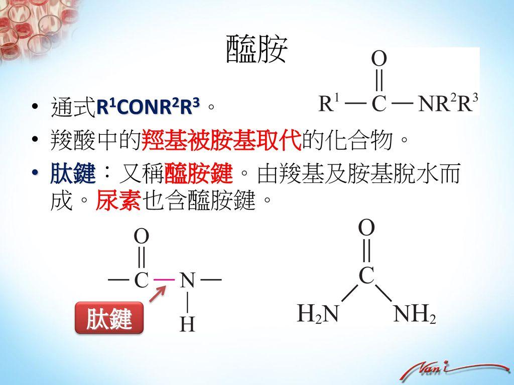 胺 胺是氨(NH3)的衍生物,為重要有機鹼。 分類: 一級胺 二級胺 三級胺 通式 RNH2 R1R2NH R1R2R3N 例子