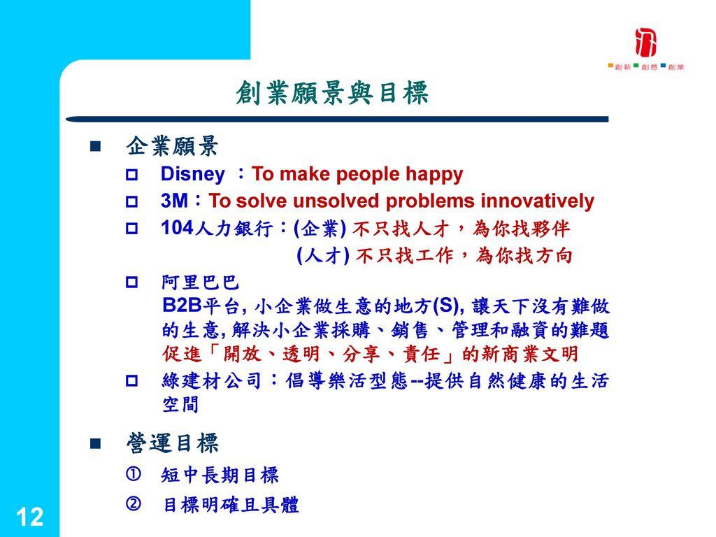 創業願景與目標 企業願景 營運目標 Disney :To make people happy