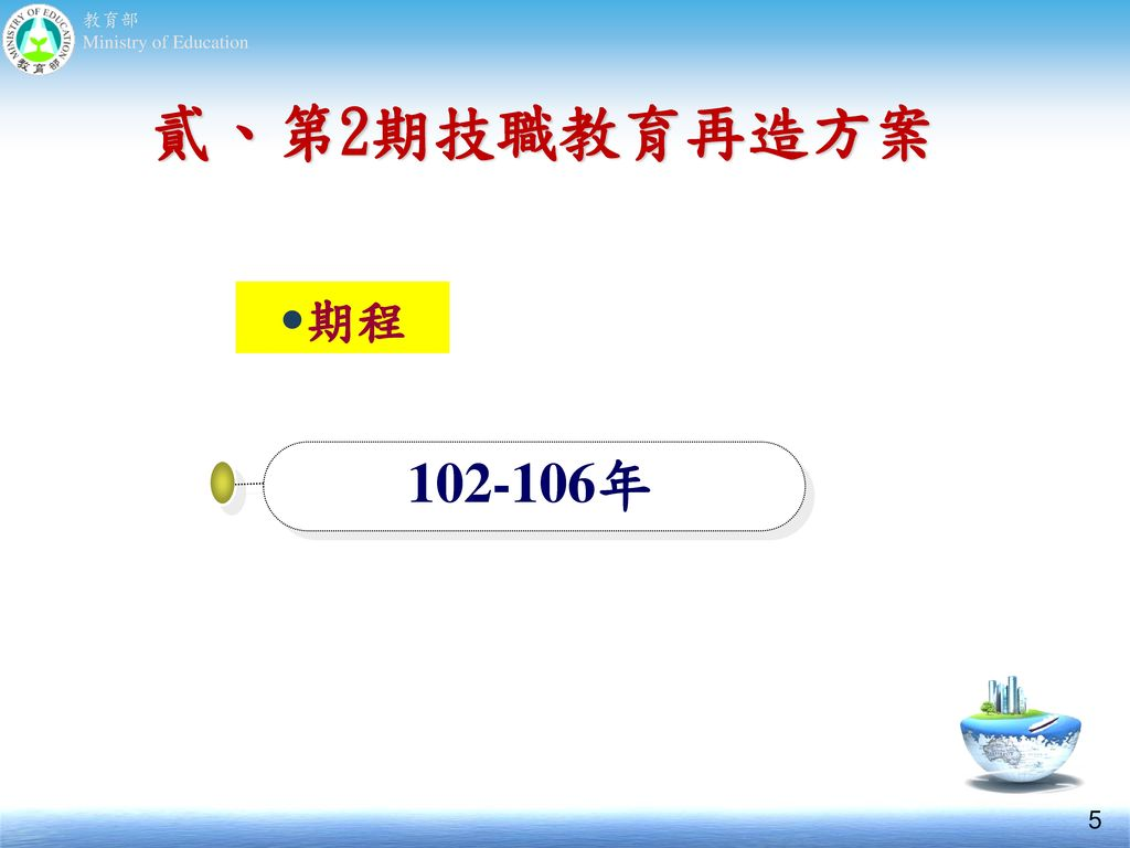 貳、第2期技職教育再造方案 期程 102-106年 5