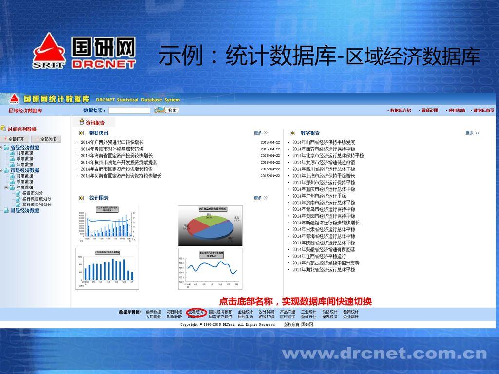 示例:统计数据库-区域经济数据库 点击底部名称,实现数据库间快速切换