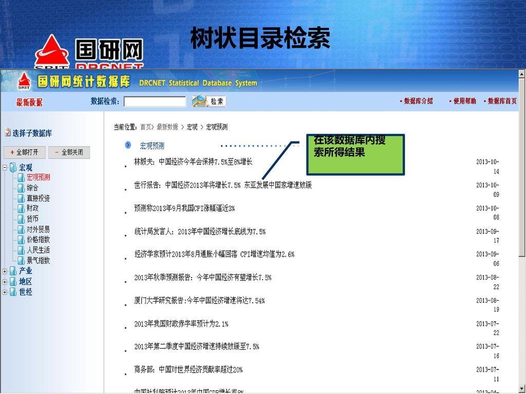树状目录检索 在该数据库内搜索所得结果