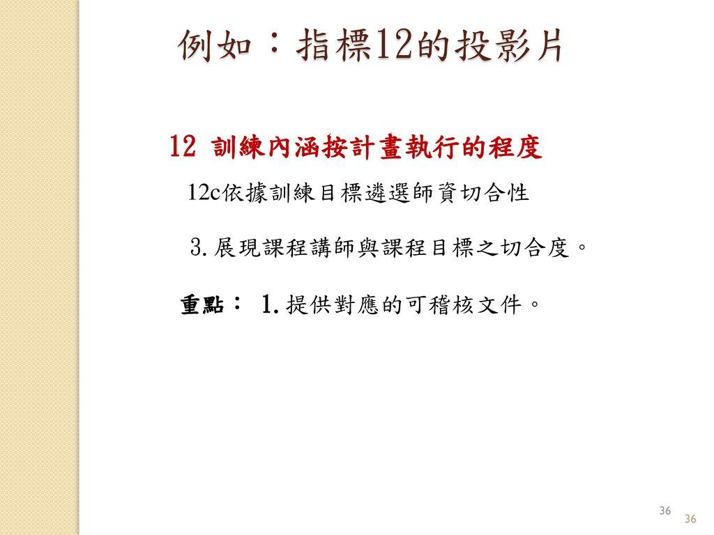 例如:指標12的投影片 12 訓練內涵按計畫執行的程度 12c依據訓練目標遴選師資切合性 3.展現課程講師與課程目標之切合度。