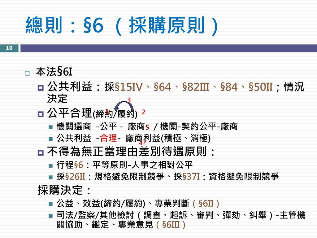 總則:§6 (採購原則) 公共利益:採§15IV、§64、§82III、§84、§50II;情況 決定 公平合理(締約/履約)