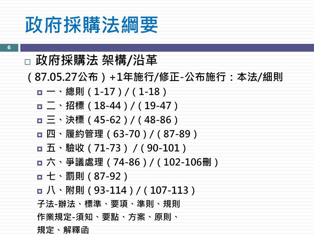 政府採購法綱要 政府採購法 架構/沿革 (87.05.27公布)+1年施行/修正-公布施行:本法/細則 一、總則(1-17)/(1-18)