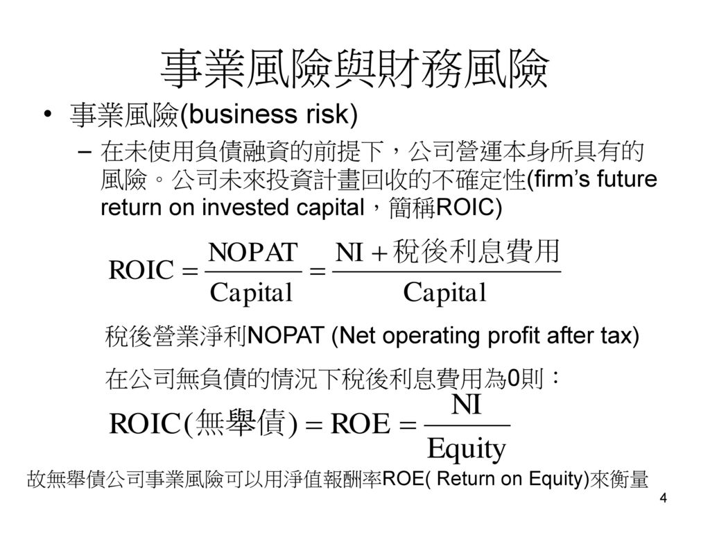 事業風險與財務風險 事業風險(business risk)