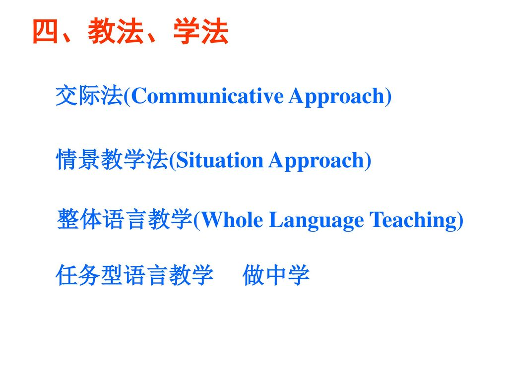 四、教法、学法 交际法(Communicative Approach) 情景教学法(Situation Approach)