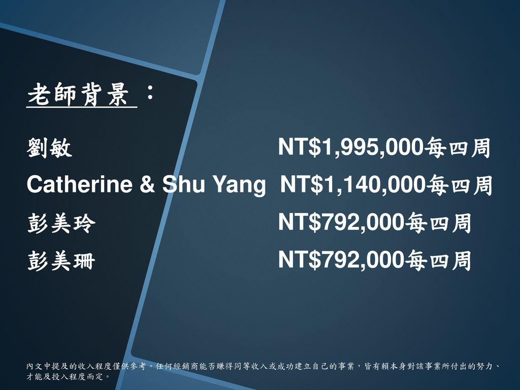 劉敏 NT$1,995,000每四周 Catherine & Shu Yang NT$1,140,000每四周 彭美玲 NT$792,000每四周 彭美珊 NT$792,000每四周