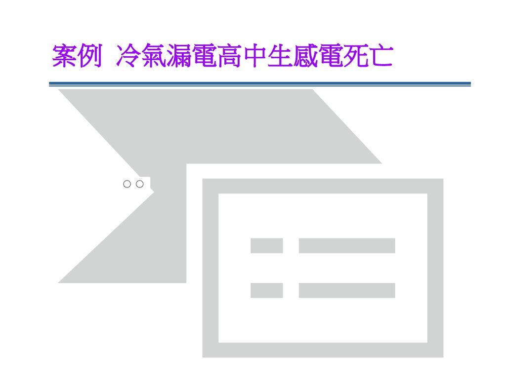 案例 冷氣漏電高中生感電死亡 ○ ○